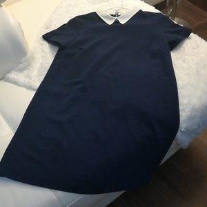 Zara Navy shift collared dress
